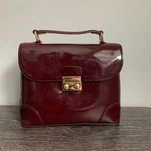 Express Maroon Patent Faux Leather Handbag A28